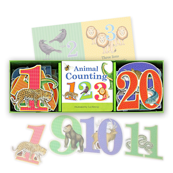Animal Counting Book & Learning Play Set (Board Book)