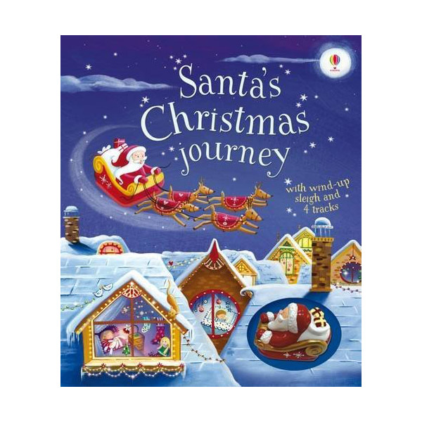 Santa's Christmas Journey with Wind-Up Sleigh (Board book)