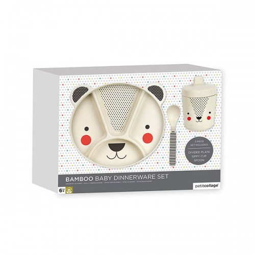 Petit Collage Baby Bear Eco Friendly 3Piece Bamboo Dinnerware Set
