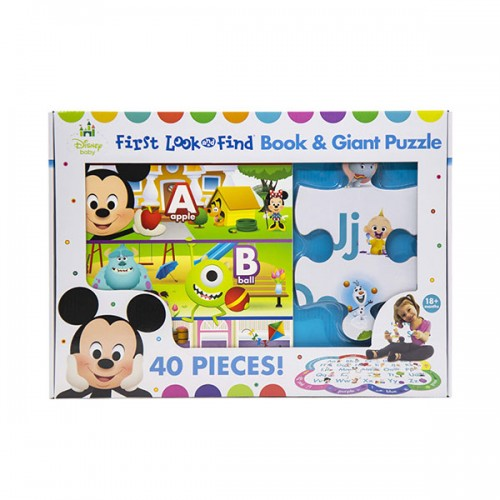 Disney Baby First Look and FInd Board Book & Giant 40 Piece Puzzle (Book & Puzzle)
