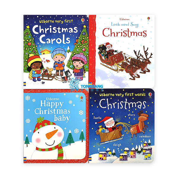 Usborne : Happy Christmas 보드북 4종 세트 (Board book, 4권) (CD미포함)
