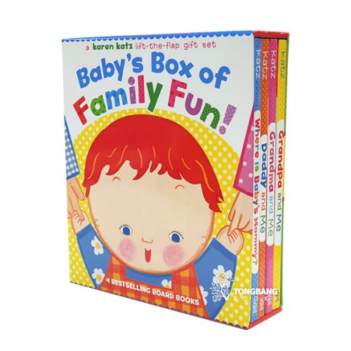 Karen Katz : Baby's Box of Family Fun Boxed Set (4 Board Books,Lift-the-Flap) (CD미포함)