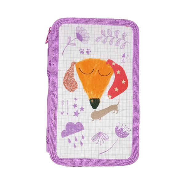 Dog Double Tier Filled Pencil Case