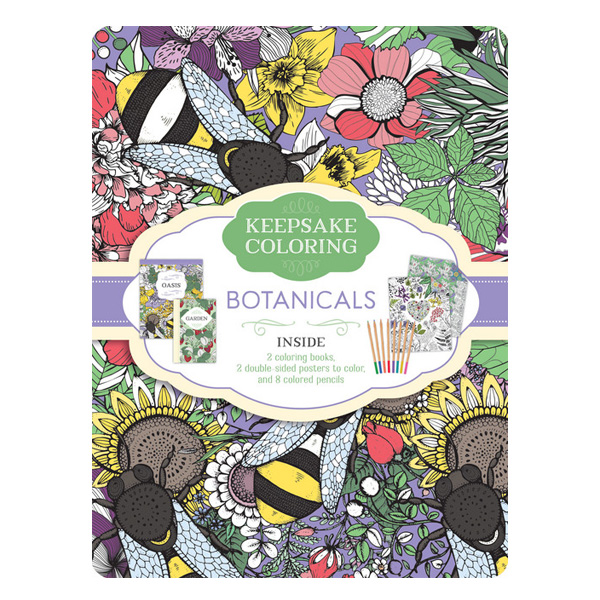 Botanicals Keepsake Coloring Tin (2 Colouring Books / Posters / Colouring pecils)