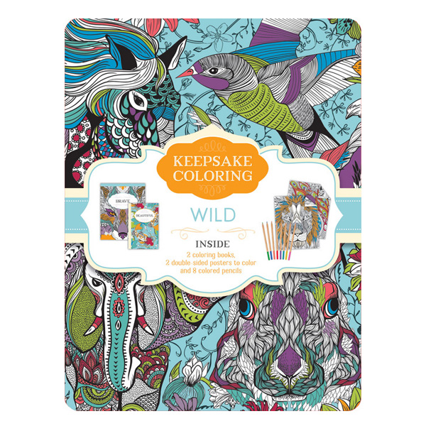 Wild Keepsake Coloring Tin (2 Colouring Books / Posters / Colouring pecils)
