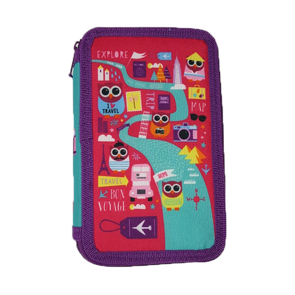 Hoot Double Tier Filled Pencil Case