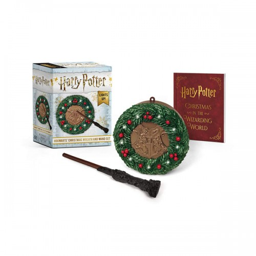 Harry Potter : Hogwarts Christmas Wreath and Wand Set : Lights Up! (Mini Paperback+Miniature)