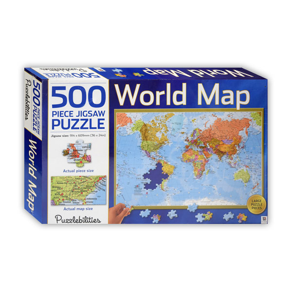 500 Piece Jigsaw Puzzle World Map (Puzzle)